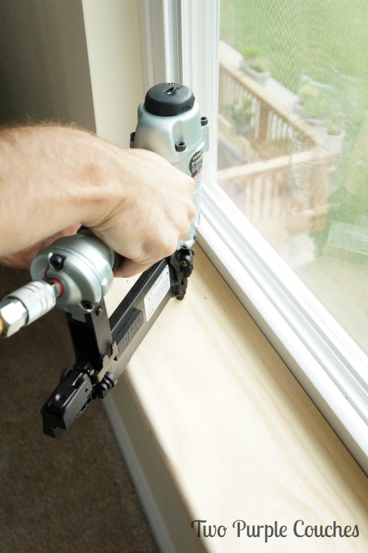 Install new window sills with wood glue and a pneumatic nail gun. via www.twopurplecouches.com #diy #masterbedroommakeover #buildlikeagirl