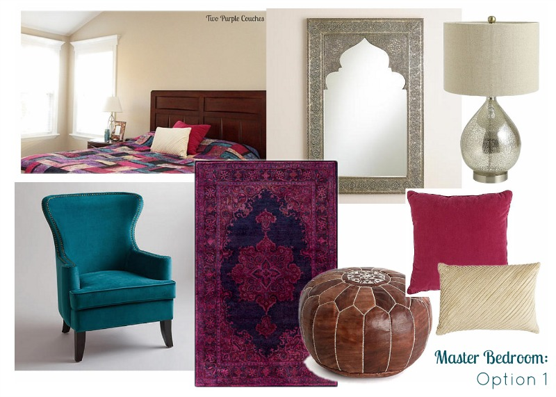 I put together a simple mood board to help me focus on the right furniture and accents to put the finishing touches on my master bedroom makeover. via www.twopurplecouches.com