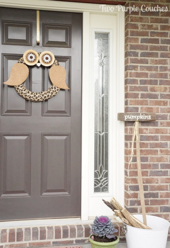 Love this DIY Owl wreath! Perfect for a Fall porch! via www.twopurplecouches.com