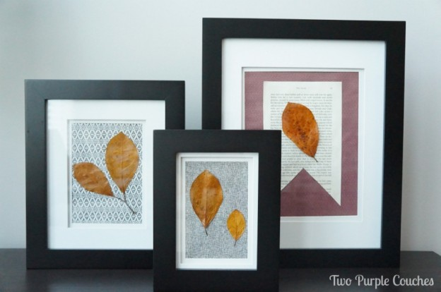Pretty trio of pressed leaves art. via www.twopurplecouches.com #Fall #art #homedecor #diyart #FallDecor