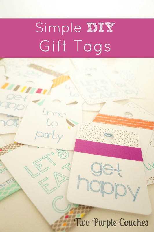Make your own simple gift tags using washi tape and paint pens. via www.twopurplecouches.com