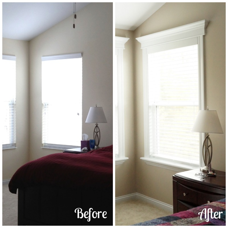 A before-and-after look at our master bedroom windows. via www.twopurplecouches.com