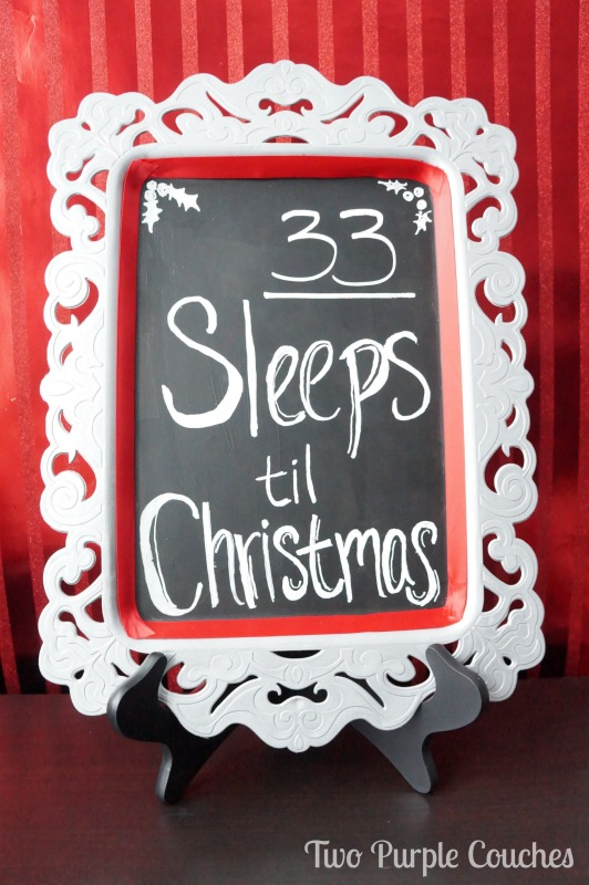 Create a Christmas Countdown sign from a thrifted plastic serving tray. via www.twopurplecouches.com