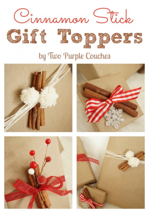 Cinnamon Stick Holiday Gift Toppers via www.twopurplecouches.com