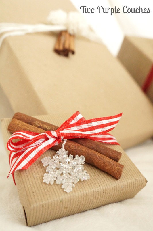 Festive Cinnamon Stick Gift Toppers for dressing up holiday presents. via www.twopurplecouches.com