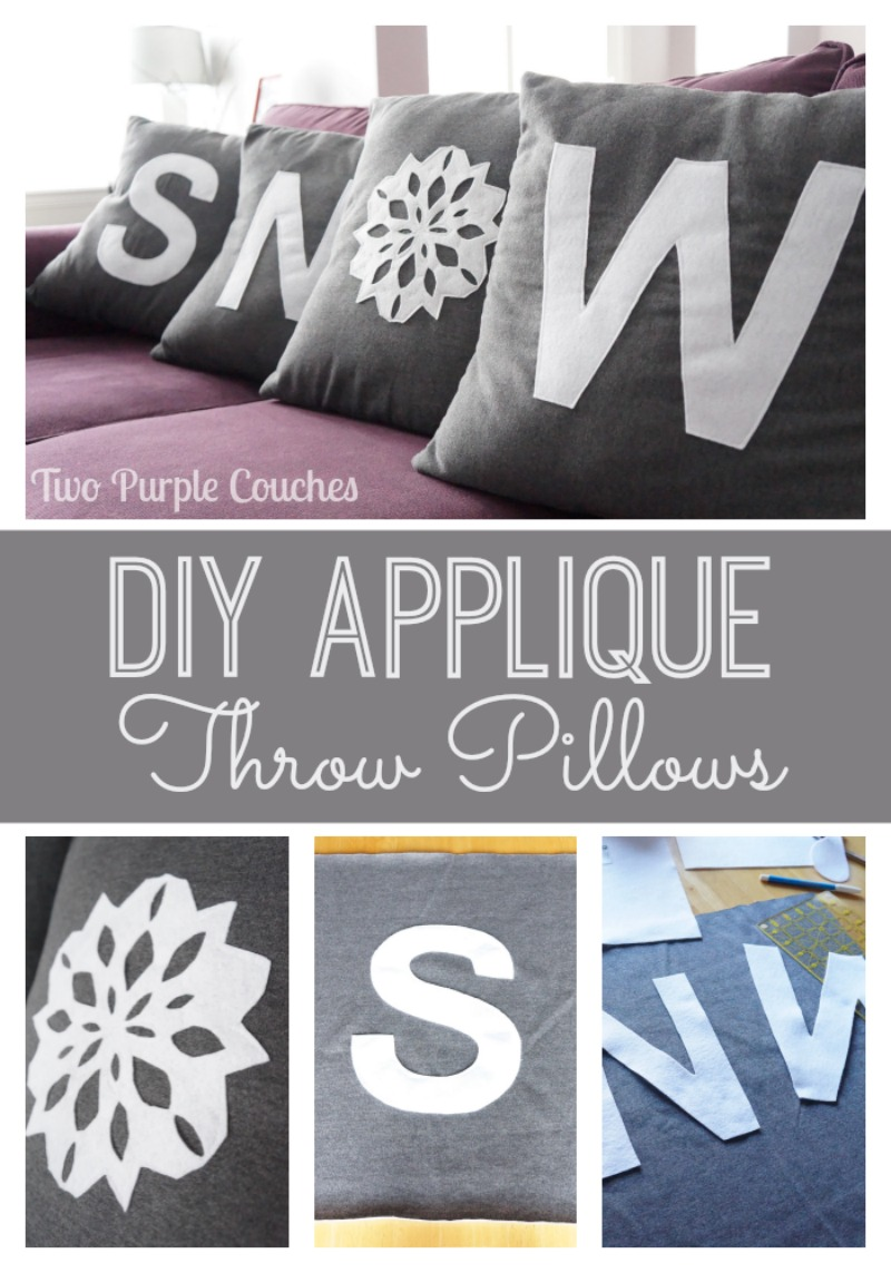 DIY Applique Throw Pillows via www.twopurplecouches.com