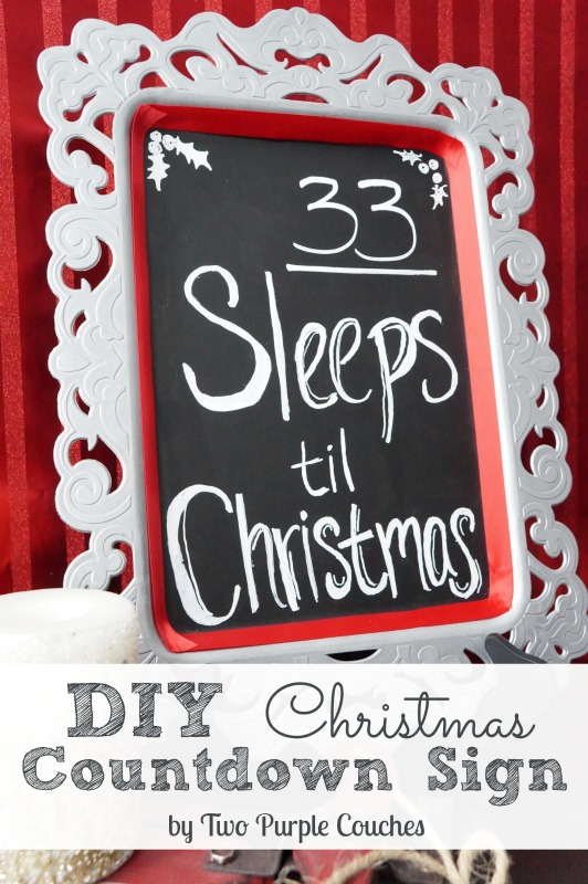 DIY Christmas Countdown Sign via www.twopurplecouches.com