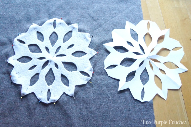 Cut a felt snowflake from a paper snowflake template