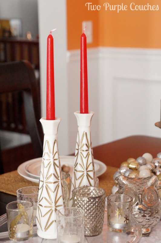 Gilded Milk Glass. Turn bud vases into taper candle holders. via www.twopurplecouches.com