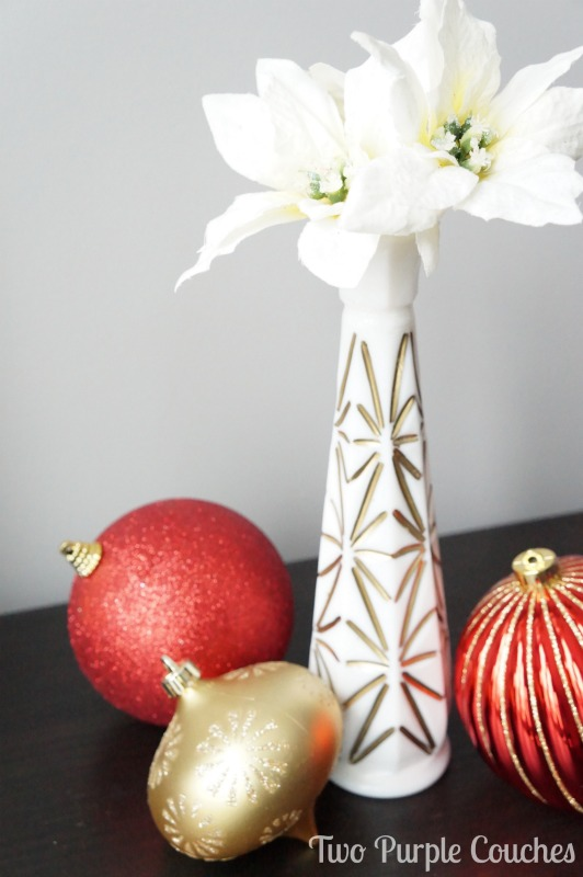 Gilded Milk Glass bud vases via www.twopurplecouches.com