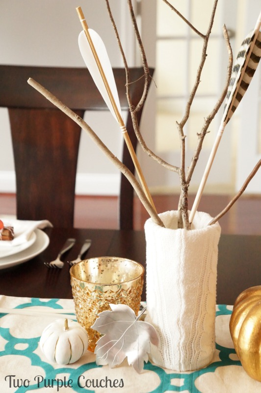 Love the texture of a sweater-covered vase as the centerpiece for my Thanksgiving table! via www.twopurplecouches.com