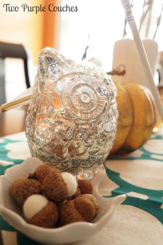 Owls + felted acorns = a perfect Thanksgiving table! via www.twopurplecouches.com