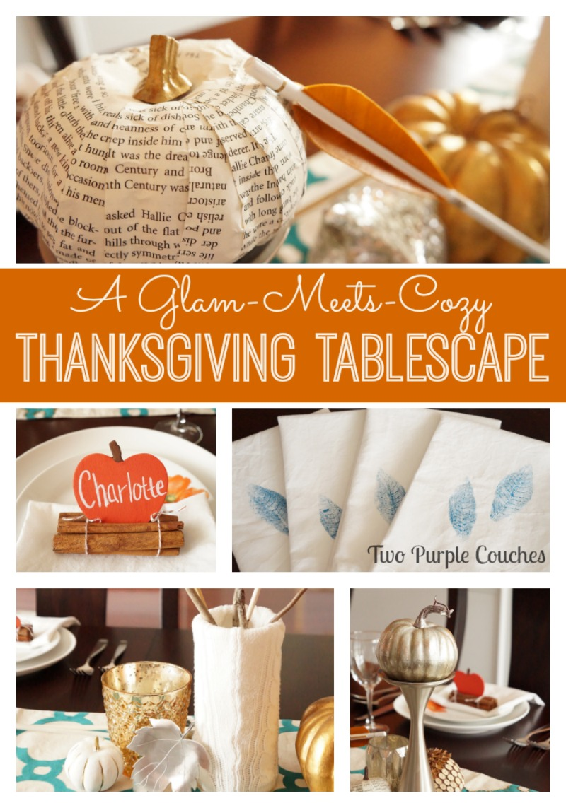 A beautiful glam-meets-cozy Thanksgiving Tablescape via www.twopurplecouches.com