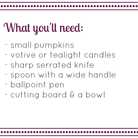 A few supplies are all you need to make your own pumpkin votive holders. via www.twopurplecouches.com