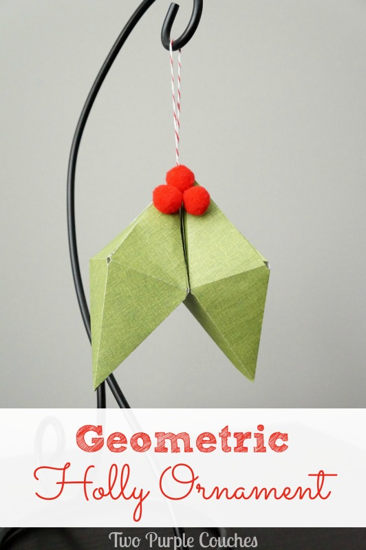 Geometric Holly Ornament via www.twopurplecouches.com