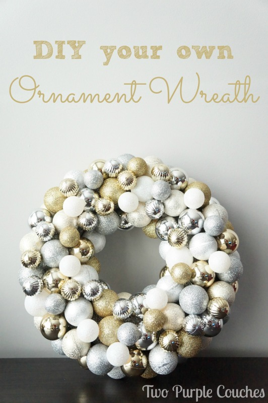 DIY Ornament Wreath via www.twopurplecouches.com