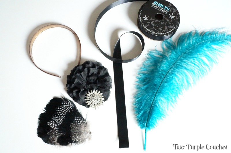 Supplies needed to make your own party headband: a headband, ribbon, feathers, rosettes and a sparkly pin. via www.twopurplecouches.com