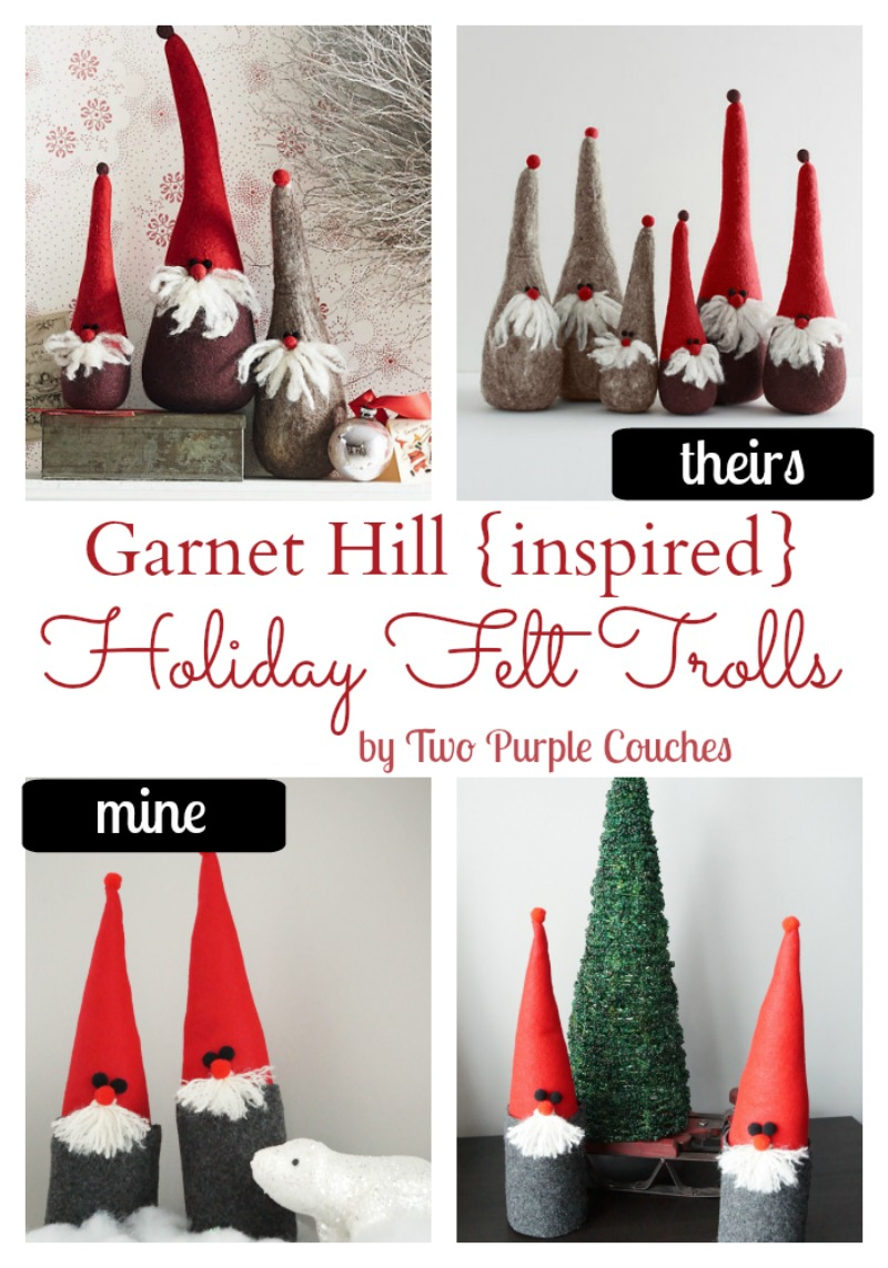 Garnet Hill Inspired Holiday Felt Trolls via www.twopurplecouches.com