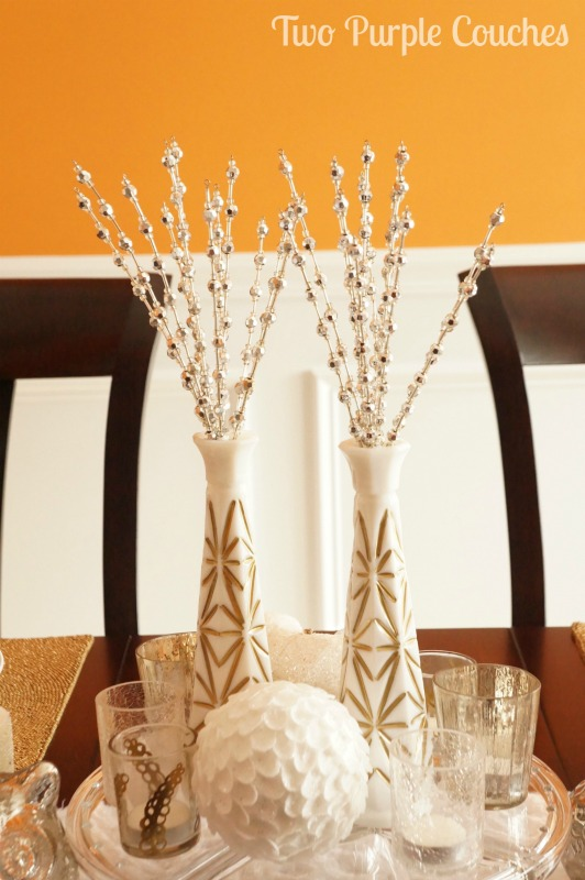 Gilded Milk Glass Centerpiece