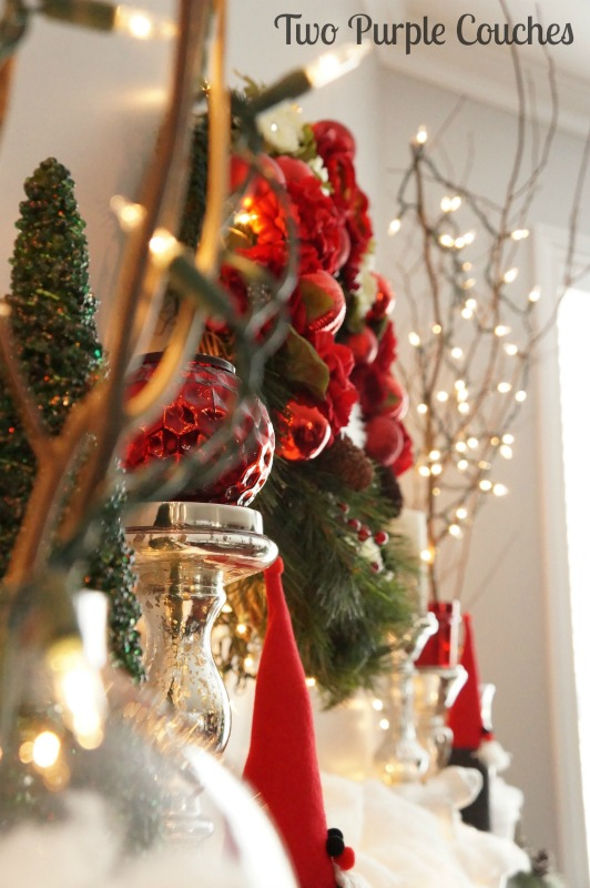 Glowing Christmas Mantel via www.twopurplecouches.com