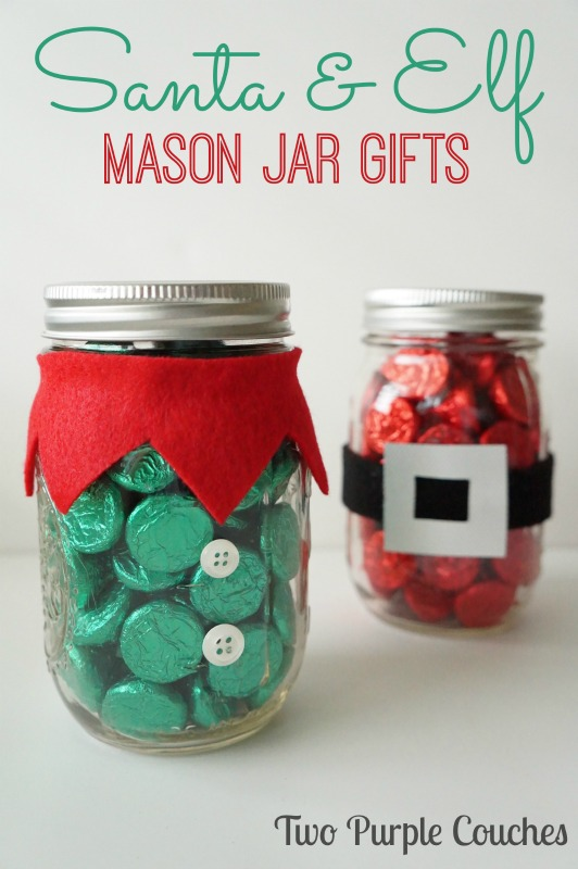 Santa and Elf: Christmas Mason Jar Gifts via www.twopurplecouches.com