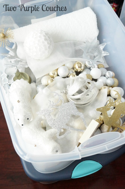 Holiday storage tip: store like-items together, like golds and silvers. via www.twopurplecouches.com