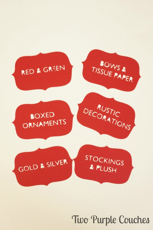 Holiday Storage Labels via www.twopurplecouches.com