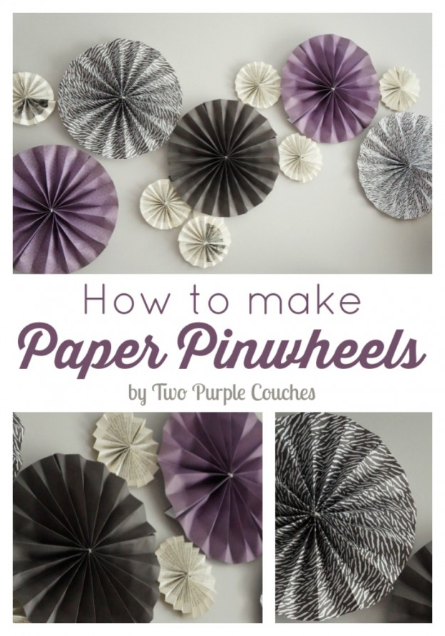 Paper pinwheels are an easy DIY paper craft. Grouped together, they're perfect for party decor, a photo backdrop, and can be strung together in a garland.