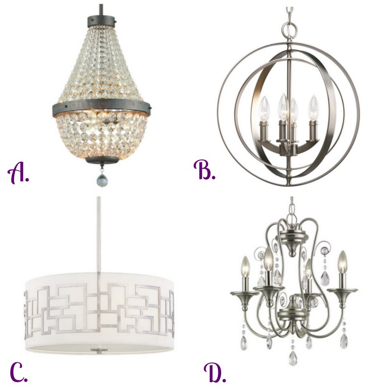 Options for a bathroom chandelier. via www.twopurplecouches.com