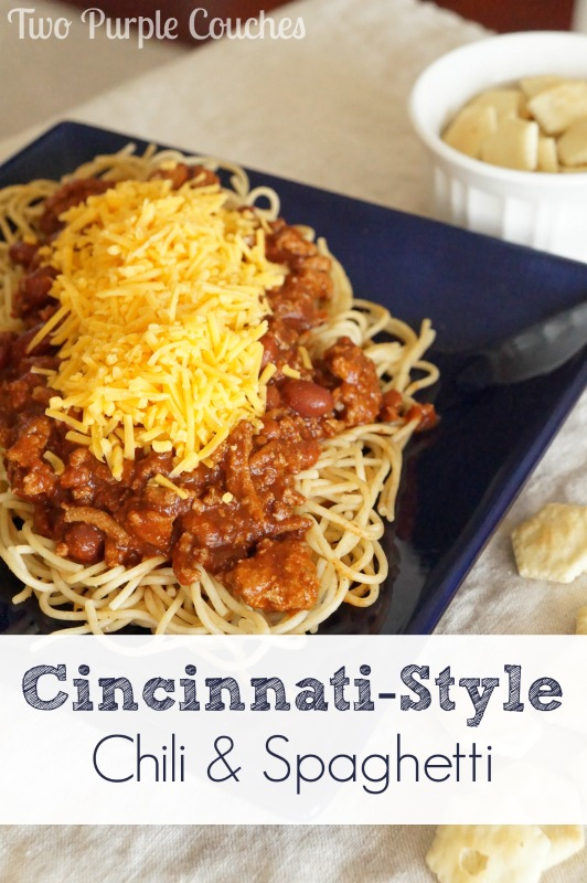 Have you ever had Cincinnati-Style Chili and Spaghetti? It may sound strange, but it's so delicious, especially topped with shredded cheddar cheese! via www.twopurplecouches.com