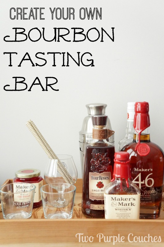 Create your own Bourbon Tasting Bar. via www.twopurplecouches.com
