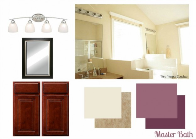 Master Bathroom Mood Board via www.twopurplecouches.com