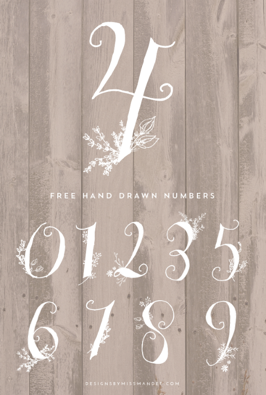 Creative Spark Most Clicked: Hand Drawn Numbers from Designs by Miss Mandee