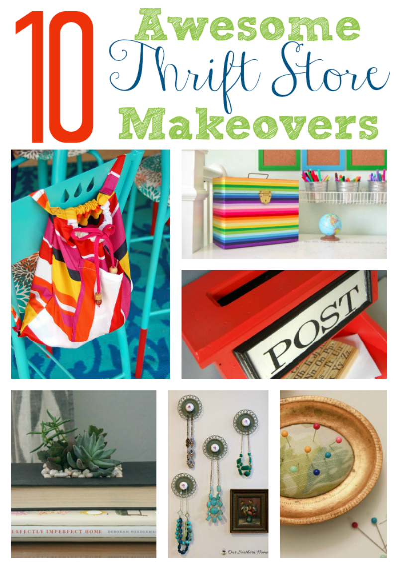 10 Awesome Thrift Store Makeovers via www.twopurplecouches.com