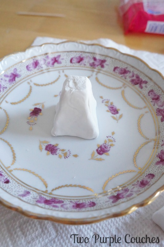 DIY Ring Dish with clay tower base. via www.twopurplecouches.com