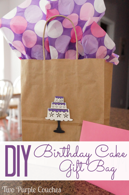Need a gift bag in a pinch? Embellish a plain craft bag with painted wood shapes. DIY Birthday Cake Gift Bag via www.twopurplecouches.com