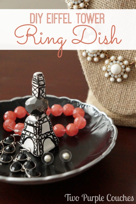 DIY Eiffel Tower Ring Dish via www.twopurplecouches.com