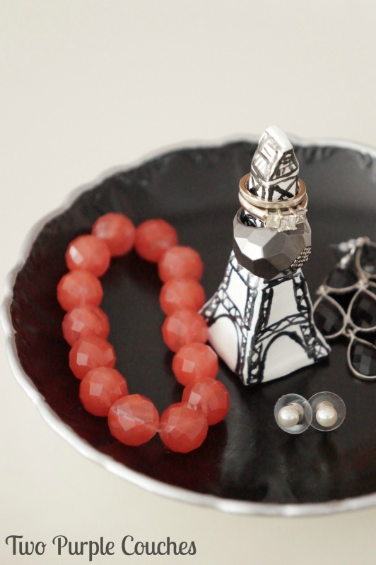 DIY Ring Dish - Mini Eiffel Tower via www.twopurplecouches.com