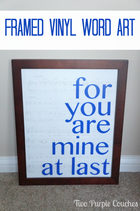 Framed Vinyl Word Art via www.twopurplecouches.com