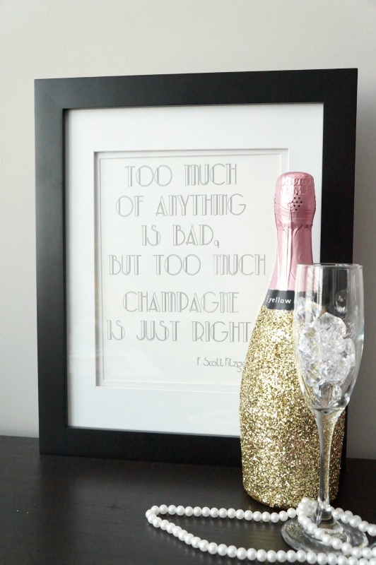 DIY Glittered Champagne Bottles