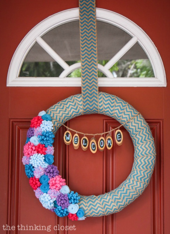 Felt Flower Wreath from The Thinking Closet