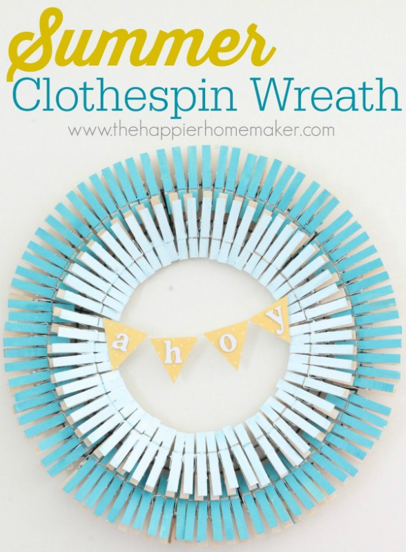 Summer Clothespin Wreath from The Happier Homemaker