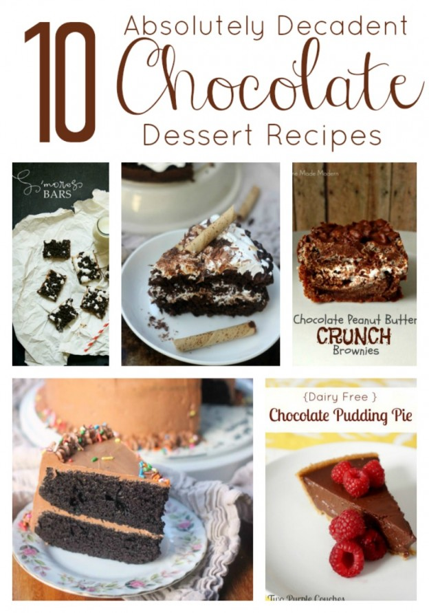 10 Decadent Chocolate Desserts via www.twopurplecouches.com