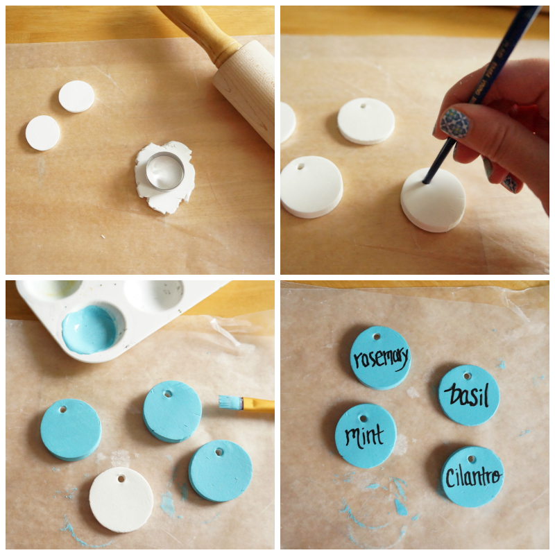 How to make a set of herb markers using clay. via www.twopurplecouches.com