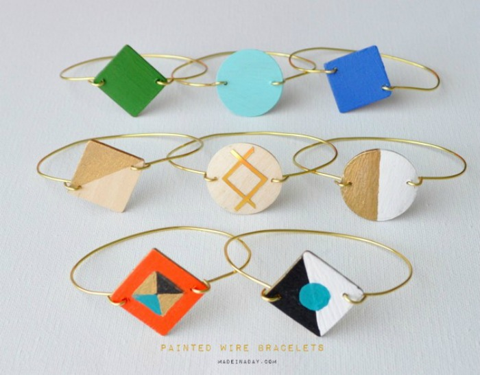 Creative Spark Link Party Feature: Painted Wood and Wire Bracelets from Made In A Day