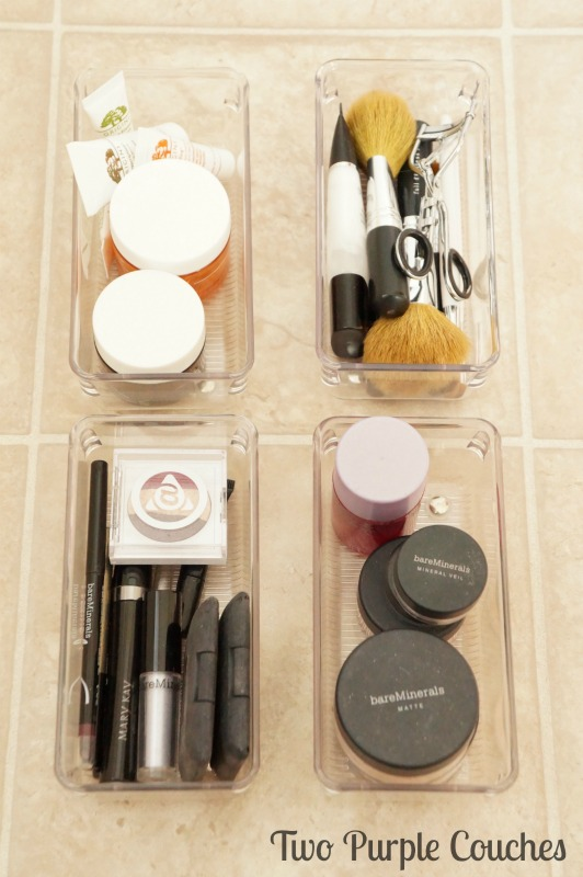 Makeup organizing and storage solutions via www.twopurplecouches.com