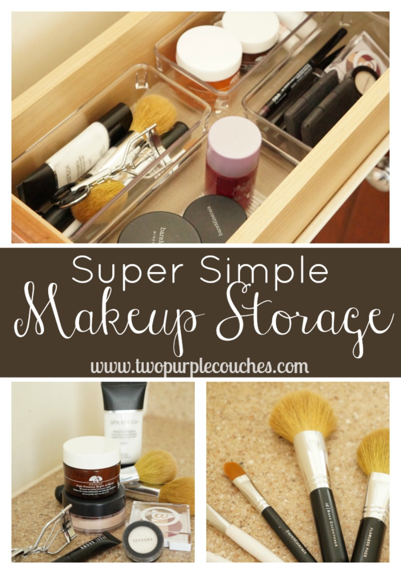 Simple Makeup Storage Solution via www.twopurplecouches.com