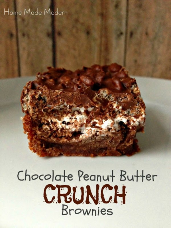 Chocolate Peanut Butter Crunch Brownies from Home Made Modern