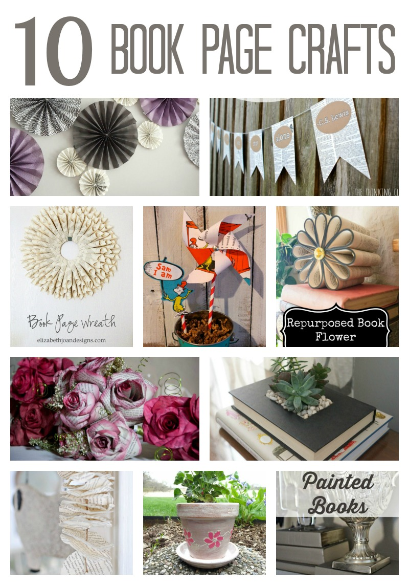 10 Clever Book Page Crafts & Projects via www.twopurplecouches.com