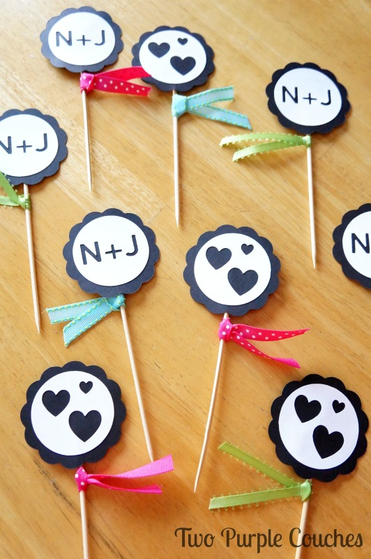 DIY Cupcake Toppers for an Engagement Party. Made with Silhouette Cameo. via www.twopurplecouches.com